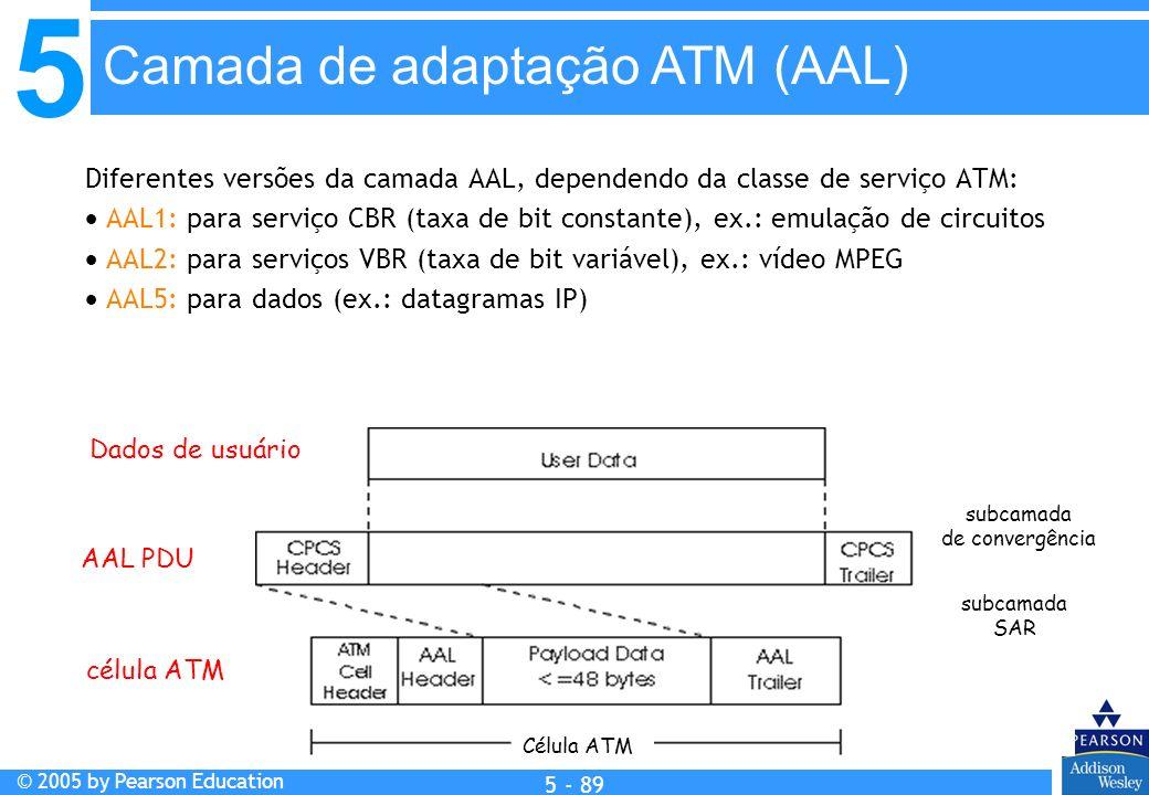 5 © 2005 by Pearson Education 5 - 89 Diferentes versões da camada AAL, dependendo da classe de serviço ATM: AAL1: para serviço CBR (taxa de bit consta