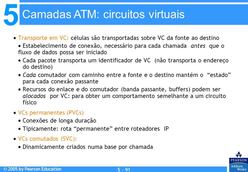 5 © 2005 by Pearson Education 5 - 91 Transporte em VC: células são transportadas sobre VC da fonte ao destino Estabelecimento de conexão, necessário p
