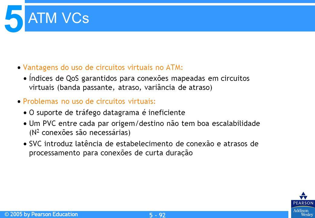 5 © 2005 by Pearson Education 5 - 92 Vantagens do uso de circuitos virtuais no ATM: Índices de QoS garantidos para conexões mapeadas em circuitos virt