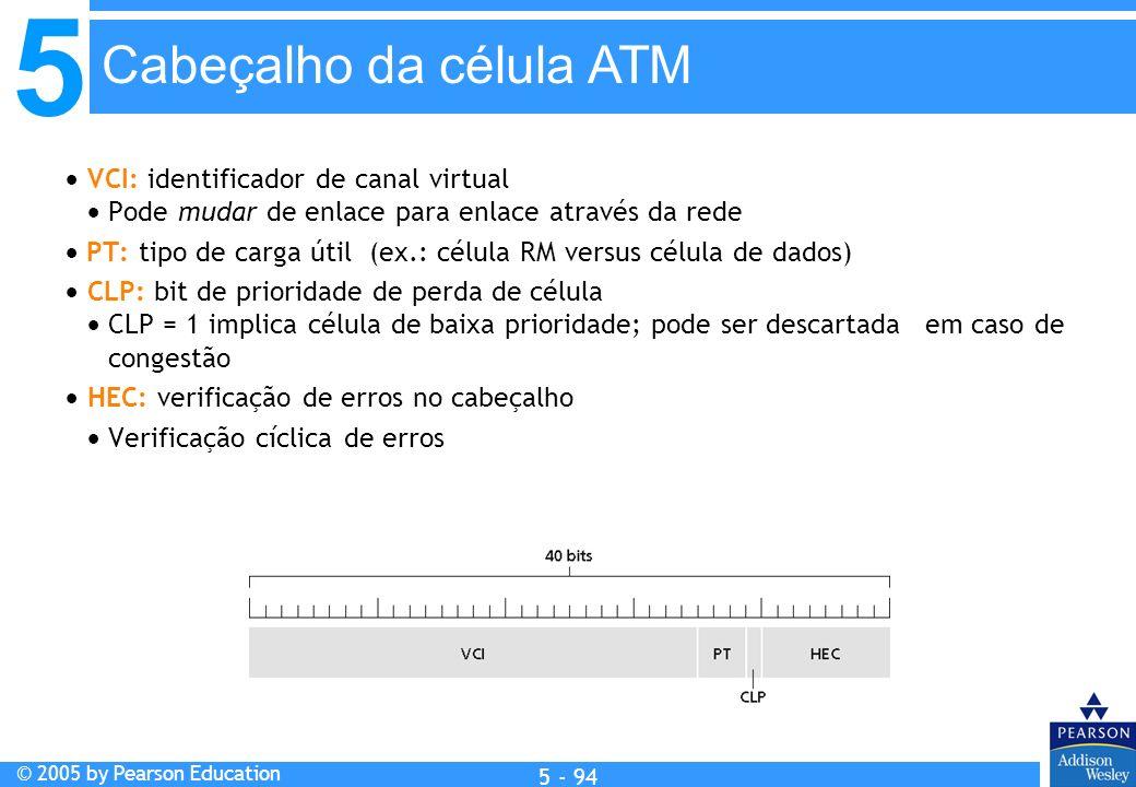 5 © 2005 by Pearson Education 5 - 94 VCI: identificador de canal virtual Pode mudar de enlace para enlace através da rede PT: tipo de carga útil (ex.: