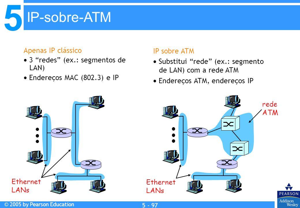 5 © 2005 by Pearson Education 5 - 97 Apenas IP clássico 3 redes (ex.: segmentos de LAN) Endereços MAC (802.3) e IP IP sobre ATM Substitui rede (ex.: s