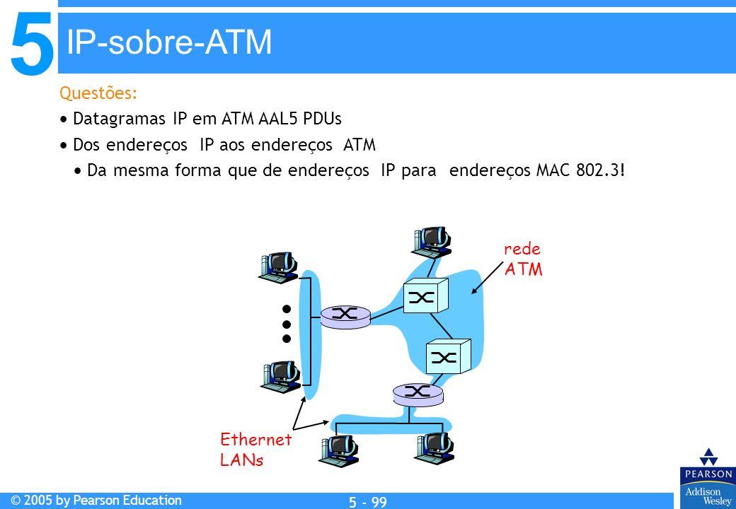 5 © 2005 by Pearson Education 5 - 99 Questões: Datagramas IP em ATM AAL5 PDUs Dos endereços IP aos endereços ATM Da mesma forma que de endereços IP pa