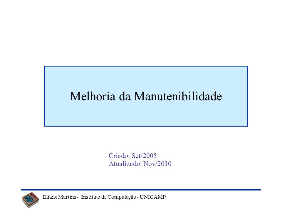 Eliane Martins - Instituto de Computação - UNICAMP Onde obter mais informações Catálogo sobre padrões –http://www.dofactory.com/Patterns/Patterns.aspx#list Tutorial sobre padrões: –www.csc.calpoly.edu/~dbutler/tutorials/winter96/patterns/objectives.