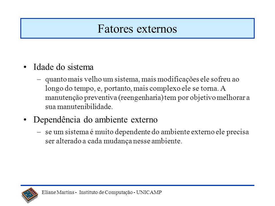 Eliane Martins - Instituto de Computação - UNICAMP Fatores externos Equipe –idealmente a manutenção de um sistema seria realizada pela equipe que o de