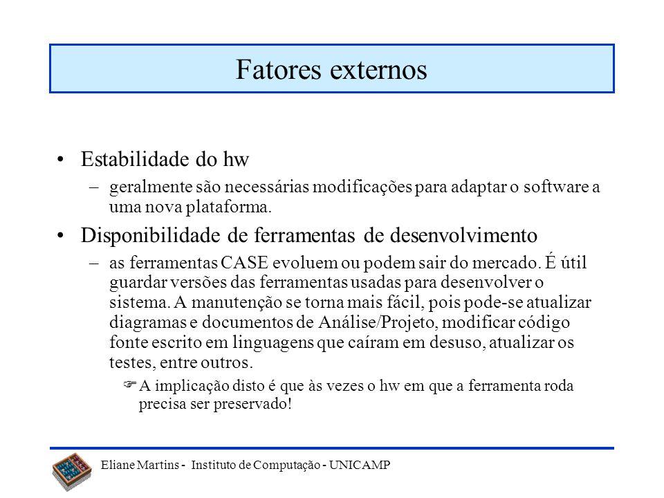 Eliane Martins - Instituto de Computação - UNICAMP Fatores externos Idade do sistema –quanto mais velho um sistema, mais modificações ele sofreu ao lo