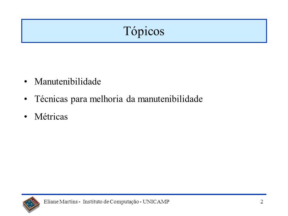 Eliane Martins - Instituto de Computação - UNICAMP Melhoria da Manutenibilidade Criado: Set/2005 Atualizado: Nov/2010
