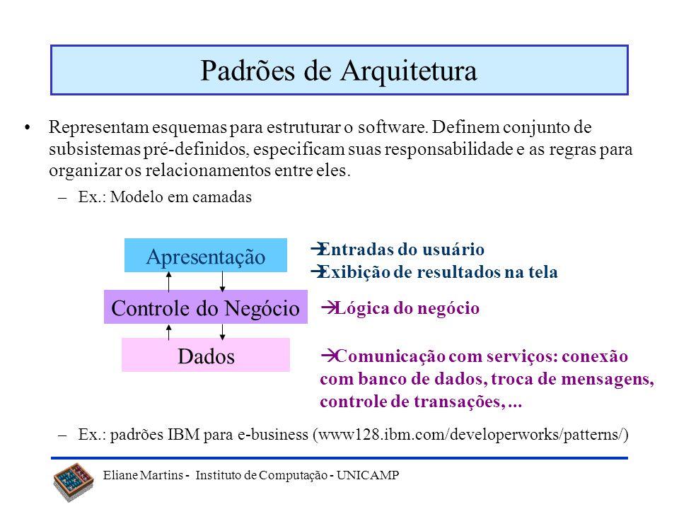 Eliane Martins - Instituto de Computação - UNICAMP Uso de padrões Padrões podem ser utilizados nas diversas etapas de desenvolvimento de software: –An