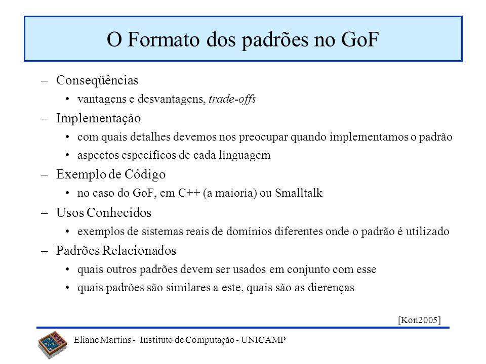 Eliane Martins - Instituto de Computação - UNICAMP O Formato dos padrões no GoF –Nome (inclui número da página) um bom nome é essencial para que o pad
