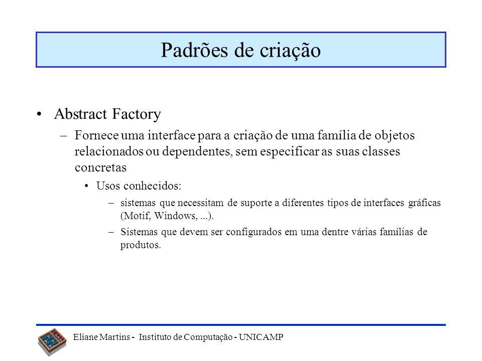 Eliane Martins - Instituto de Computação - UNICAMP Padrões de projeto No GoF, padrões de projeto podem ser divididos nas seguintes categorias: –Padrõe