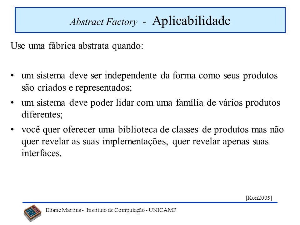 Eliane Martins - Instituto de Computação - UNICAMP Abstract Factory - Motivação Considere uma aplicação com interface gráfica que é implementada para