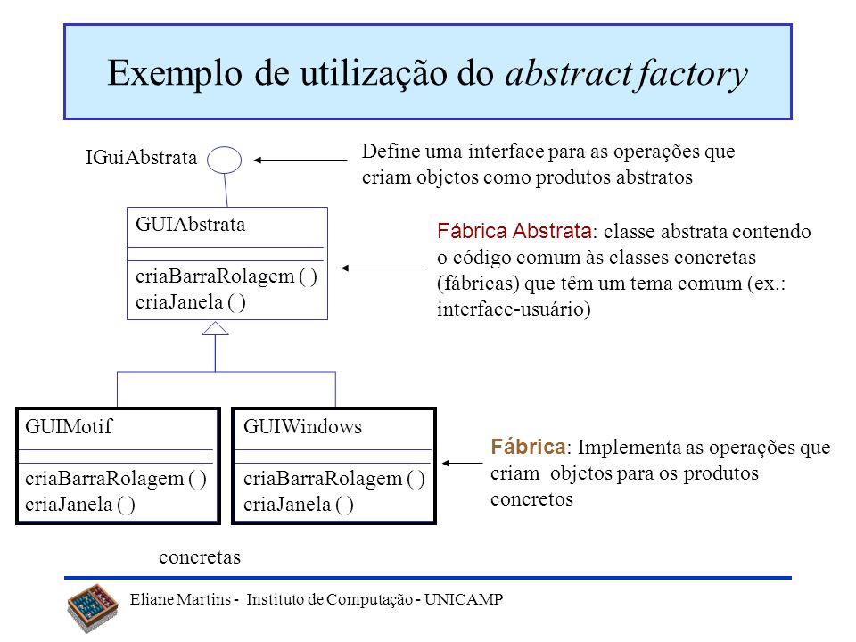 Eliane Martins - Instituto de Computação - UNICAMP Abstract Factory - Aplicabilidade Use uma fábrica abstrata quando: um sistema deve ser independente