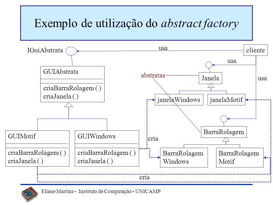 Eliane Martins - Instituto de Computação - UNICAMP Exemplo de utilização do abstract factory GUIMotif criaBarraRolagem ( ) criaJanela ( ) GUIWindows c