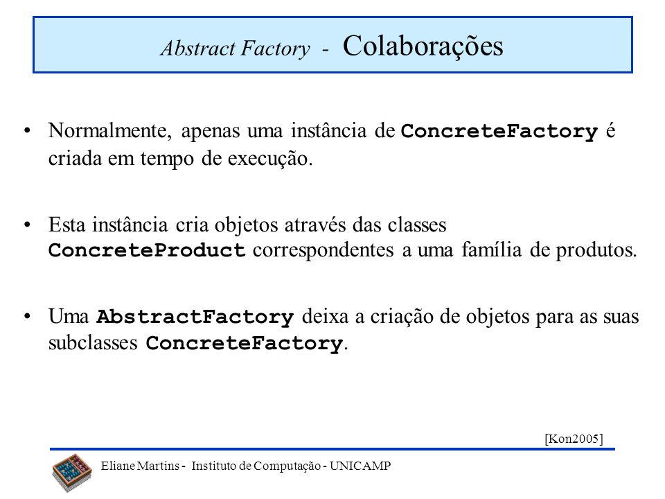 Eliane Martins - Instituto de Computação - UNICAMP Abstract Factory - Participantes AbstractFactory (GUIAbstrata) ConcreteFactory (GUIMotif, GUIWindow
