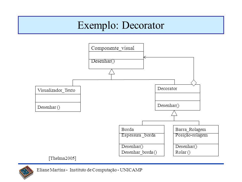 Eliane Martins - Instituto de Computação - UNICAMP Padrões estruturais Decorator –Atribui, dinâmicamente, responsabilidades adicionais a um objeto, pa
