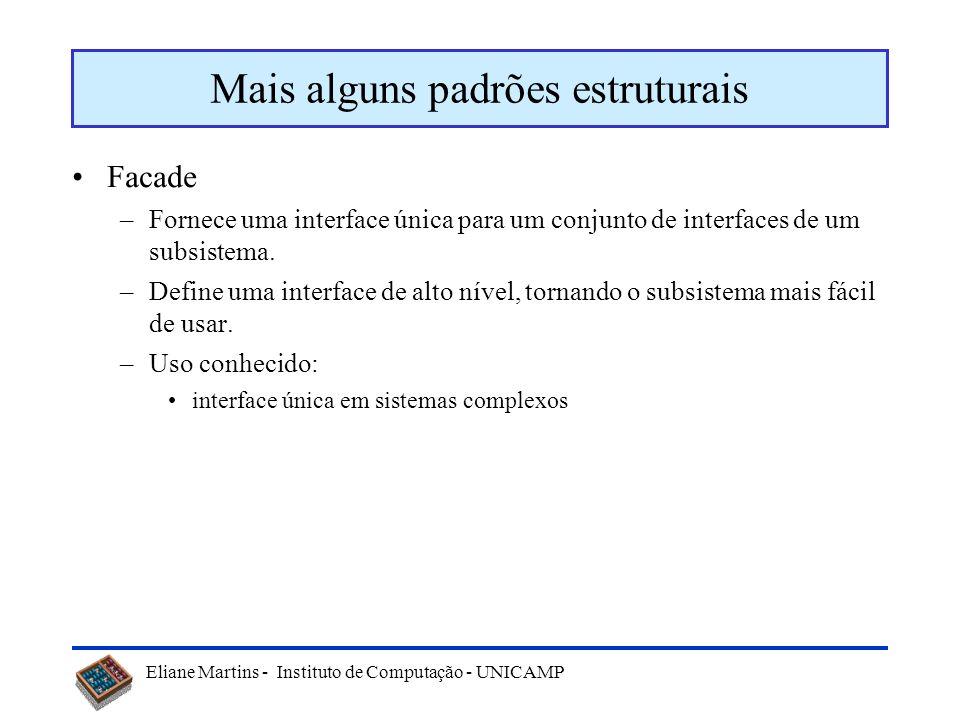 Eliane Martins - Instituto de Computação - UNICAMP Exemplo: Decorator Componente_visual Desenhar() Decorator Desenhar() Visualizador_Texto Desenhar ()