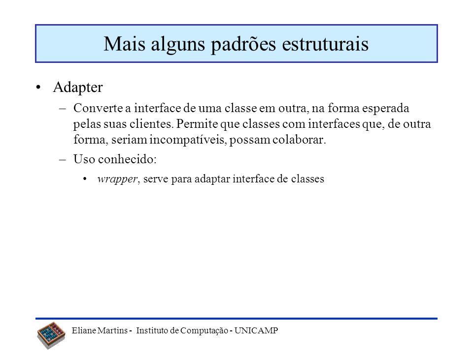 Eliane Martins - Instituto de Computação - UNICAMP Exemplo: Facade Facade Subsistema ou componente Interface única para o subsistema ou componente