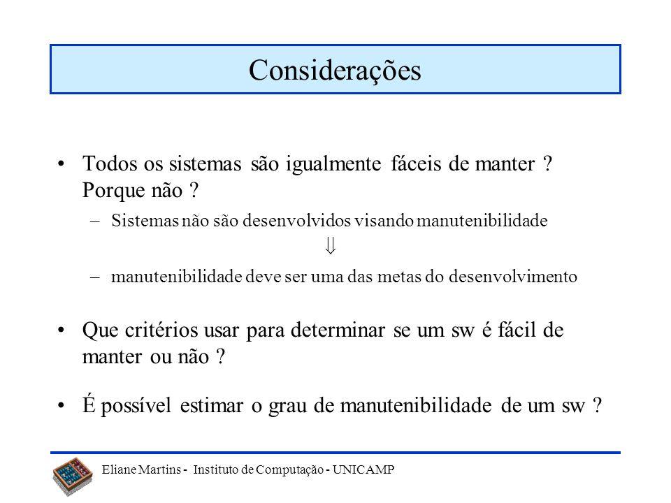 Eliane Martins - Instituto de Computação - UNICAMP Manutenibilidade Algumas definições –Facilidade com que um sistema ou componente de software pode s