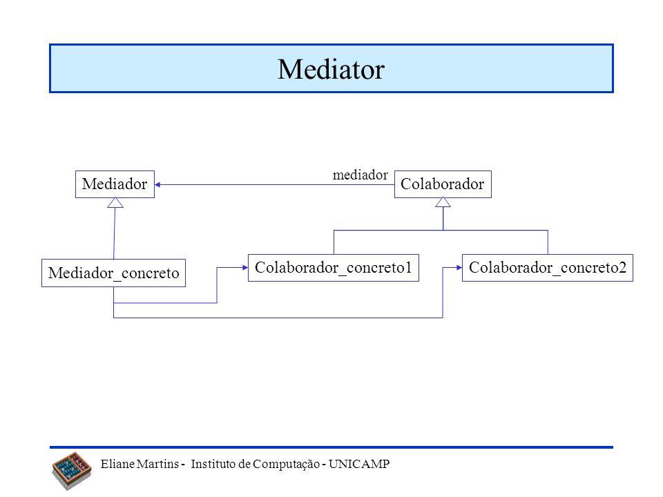 Eliane Martins - Instituto de Computação - UNICAMP Padrões comportamentais Mediator –Define um objeto que encapsula a interação entre um conjunto de o