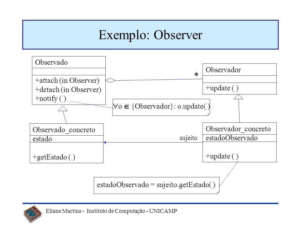 Eliane Martins - Instituto de Computação - UNICAMP Mais alguns padrões comportamentais Observer –Permite que todos os dependentes de um objeto sejam n