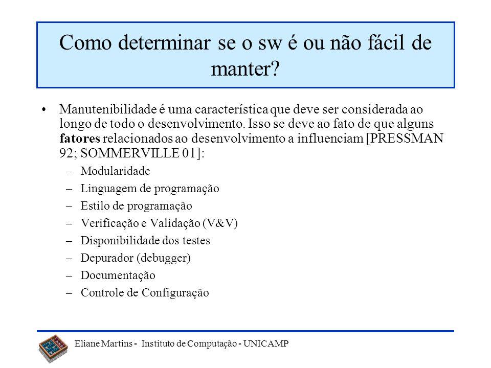 Eliane Martins - Instituto de Computação - UNICAMP Como determinar se o sw é ou não fácil de manter.