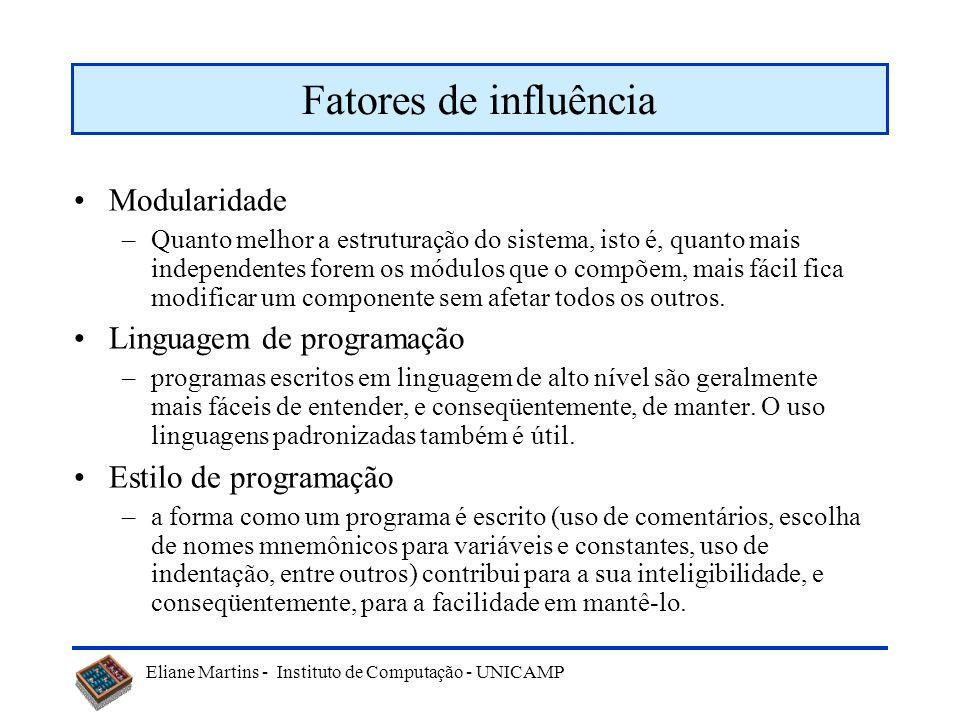 Eliane Martins - Instituto de Computação - UNICAMP Abstract Factory - Participantes AbstractFactory (GUIAbstrata) ConcreteFactory (GUIMotif, GUIWindows) AbstractProduct (Janela, Barra de Rolagem) ConcreteProduct (JanelaMotif, BarraRolagemMotif, JanelaWindows, BarraRolagemWindows) Cliente - usa apenas as interfaces declaradas pela AbstractFactory e pelas classes AbstratProduct