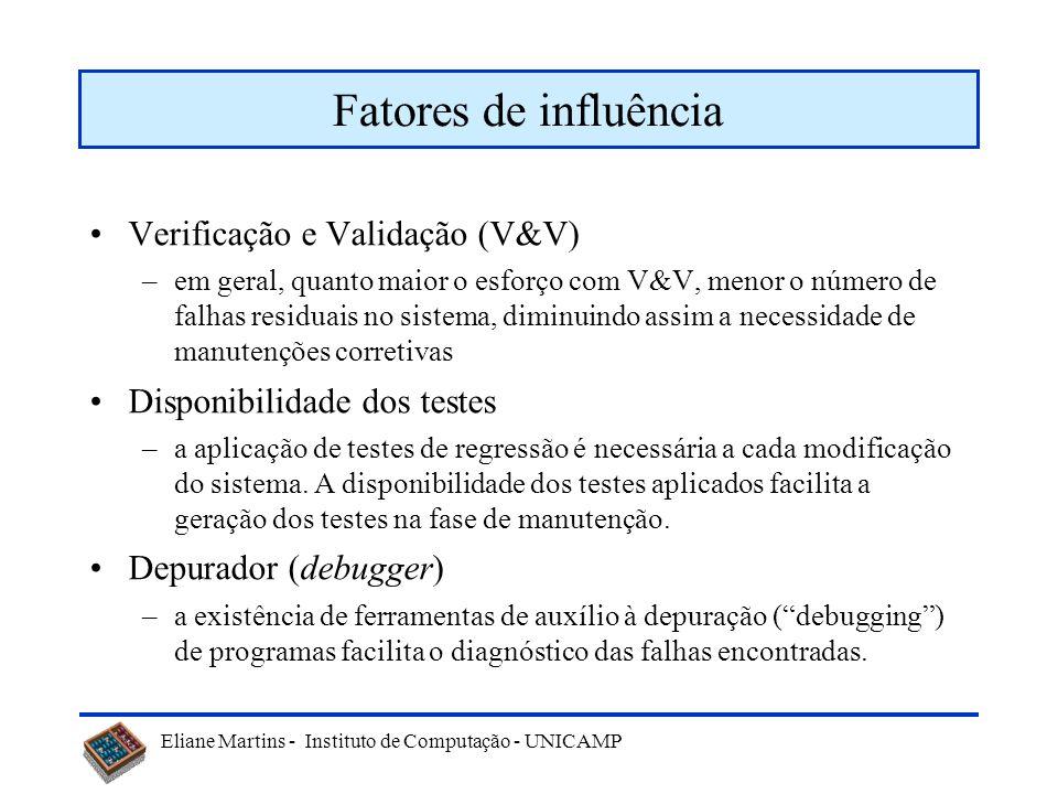 Eliane Martins - Instituto de Computação - UNICAMP Fatores de influência Verificação e Validação (V&V) –em geral, quanto maior o esforço com V&V, menor o número de falhas residuais no sistema, diminuindo assim a necessidade de manutenções corretivas Disponibilidade dos testes –a aplicação de testes de regressão é necessária a cada modificação do sistema.