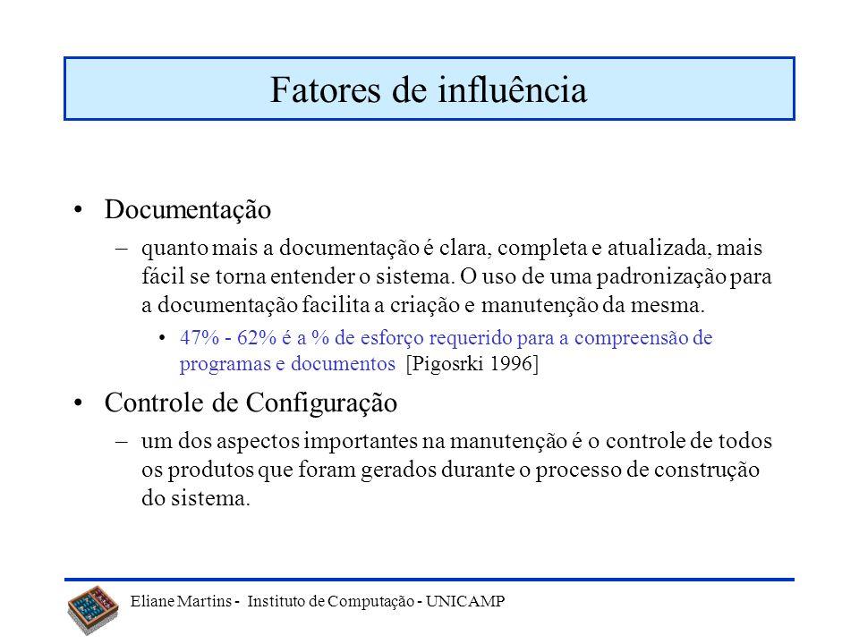 Eliane Martins - Instituto de Computação - UNICAMP Fatores de influência Documentação –quanto mais a documentação é clara, completa e atualizada, mais fácil se torna entender o sistema.