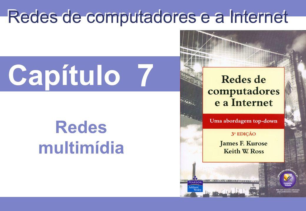 7 © 2005 by Pearson Education 7 - 32 Multimídia interativa: telefonia Internet Apresentamos a telefonia Internet através de um exemplo Áudio do orador: alterna períodos de fala e períodos de silêncio 64 kbps durante o intervalo de atividade Pacotes gerados apenas durante períodos de fala Blocos de 20 mseg a 8 Kbytes/s: dados de 160 bytes Cabeçalho da camada de aplicação adicionado a cada bloco Bloco + cabeçalhos encapsulados dentro do segmento UDP Aplicação envia o segmento UDP para o socket a cada 20 mseg durante o intervalo de atividade