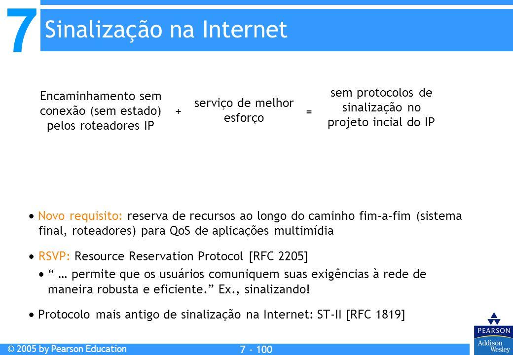7 © 2005 by Pearson Education 7 - 100 Sinalização na Internet Encaminhamento sem conexão (sem estado) pelos roteadores IP serviço de melhor esforço sem protocolos de sinalização no projeto incial do IP + = Novo requisito: reserva de recursos ao longo do caminho fim-a-fim (sistema final, roteadores) para QoS de aplicações multimídia RSVP: Resource Reservation Protocol [RFC 2205] … permite que os usuários comuniquem suas exigências à rede de maneira robusta e eficiente.