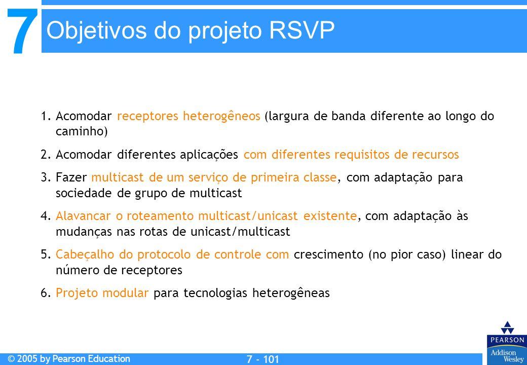7 © 2005 by Pearson Education 7 - 101 Objetivos do projeto RSVP 1. Acomodar receptores heterogêneos (largura de banda diferente ao longo do caminho) 2