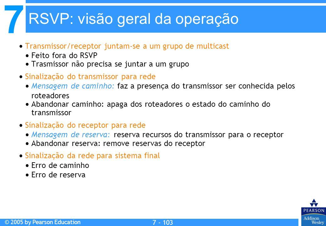 7 © 2005 by Pearson Education 7 - 103 RSVP: visão geral da operação Transmissor/receptor juntam-se a um grupo de multicast Feito fora do RSVP Trasmiss