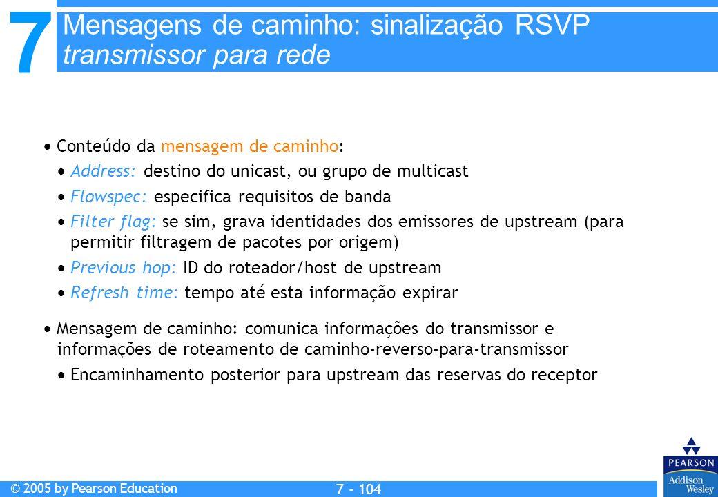 7 © 2005 by Pearson Education 7 - 104 Mensagens de caminho: sinalização RSVP transmissor para rede Conteúdo da mensagem de caminho: Address: destino d
