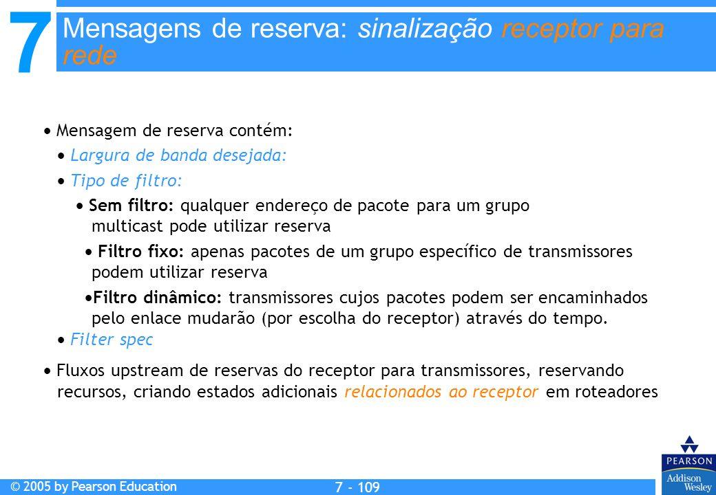 7 © 2005 by Pearson Education 7 - 109 Mensagens de reserva: sinalização receptor para rede Mensagem de reserva contém: Largura de banda desejada: Tipo