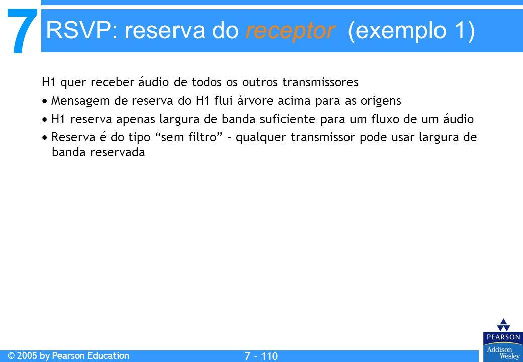7 © 2005 by Pearson Education 7 - 110 RSVP: reserva do receptor (exemplo 1) H1 quer receber áudio de todos os outros transmissores Mensagem de reserva