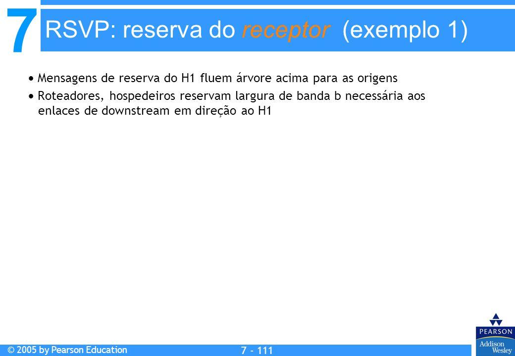 7 © 2005 by Pearson Education 7 - 111 RSVP: reserva do receptor (exemplo 1) Mensagens de reserva do H1 fluem árvore acima para as origens Roteadores, hospedeiros reservam largura de banda b necessária aos enlaces de downstream em direção ao H1