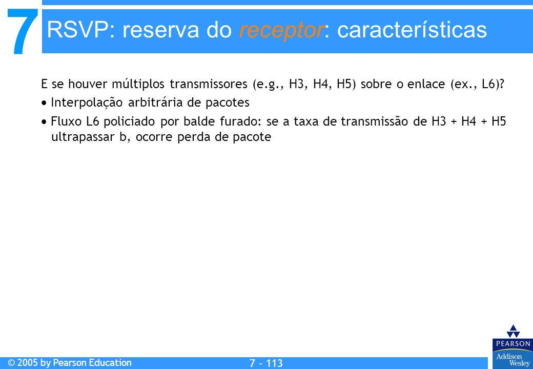 7 © 2005 by Pearson Education 7 - 113 RSVP: reserva do receptor: características E se houver múltiplos transmissores (e.g., H3, H4, H5) sobre o enlace (ex., L6).