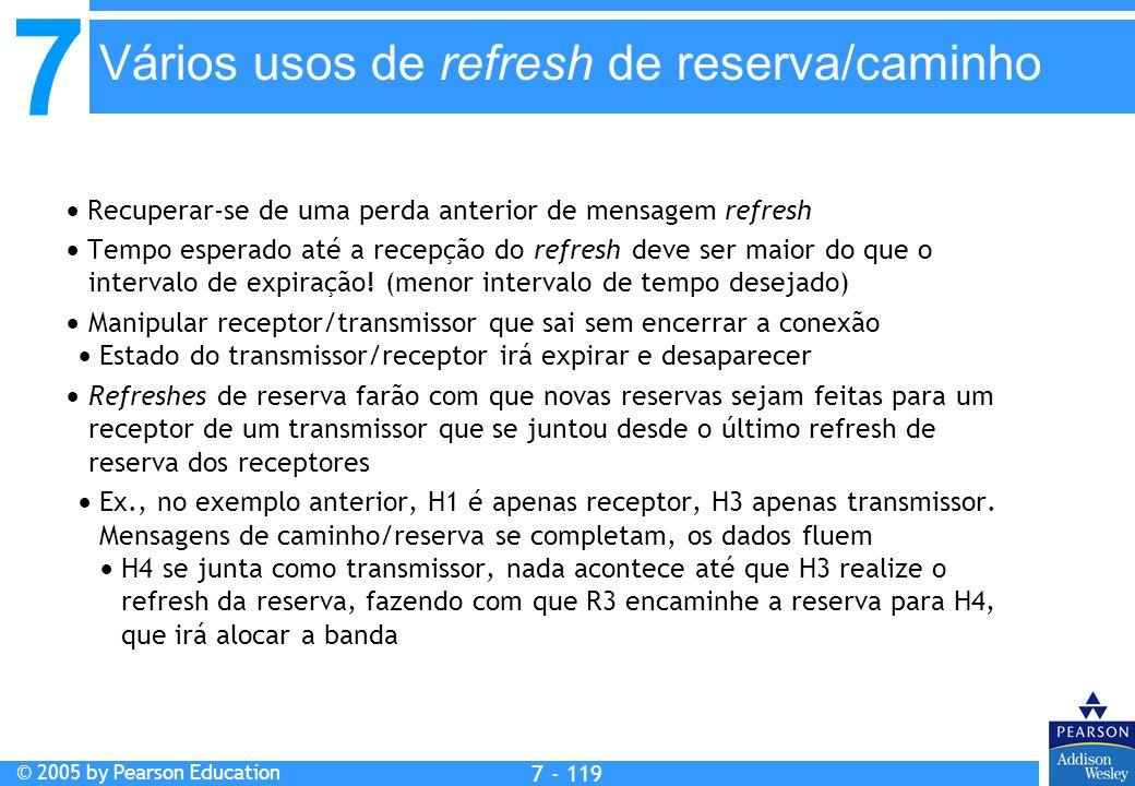 7 © 2005 by Pearson Education 7 - 119 Vários usos de refresh de reserva/caminho Recuperar-se de uma perda anterior de mensagem refresh Tempo esperado até a recepção do refresh deve ser maior do que o intervalo de expiração.