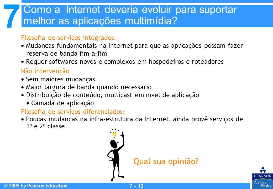 7 © 2005 by Pearson Education 7 - 12 Filosofia de serviços integrados: Mudanças fundamentais na Internet para que as aplicações possam fazer reserva d