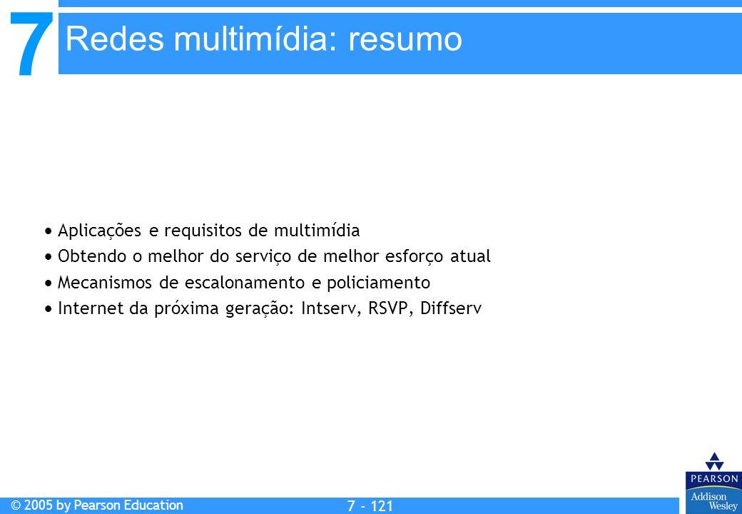 7 © 2005 by Pearson Education 7 - 121 Redes multimídia: resumo Aplicações e requisitos de multimídia Obtendo o melhor do serviço de melhor esforço atu