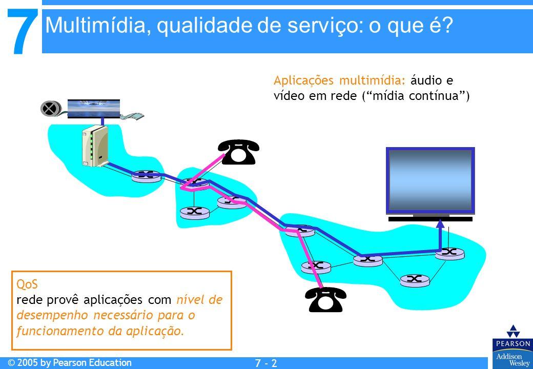 7 © 2005 by Pearson Education 7 - 2 Aplicações multimídia: áudio e vídeo em rede (mídia contínua) QoS rede provê aplicações com nível de desempenho necessário para o funcionamento da aplicação.