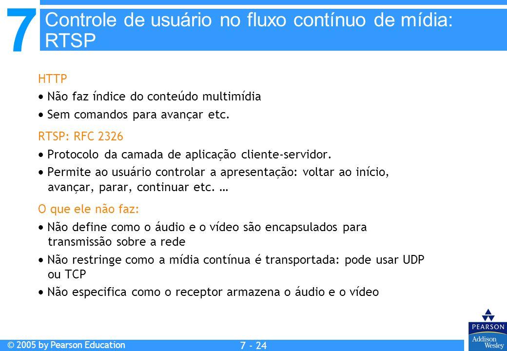 7 © 2005 by Pearson Education 7 - 24 HTTP Não faz índice do conteúdo multimídia Sem comandos para avançar etc.