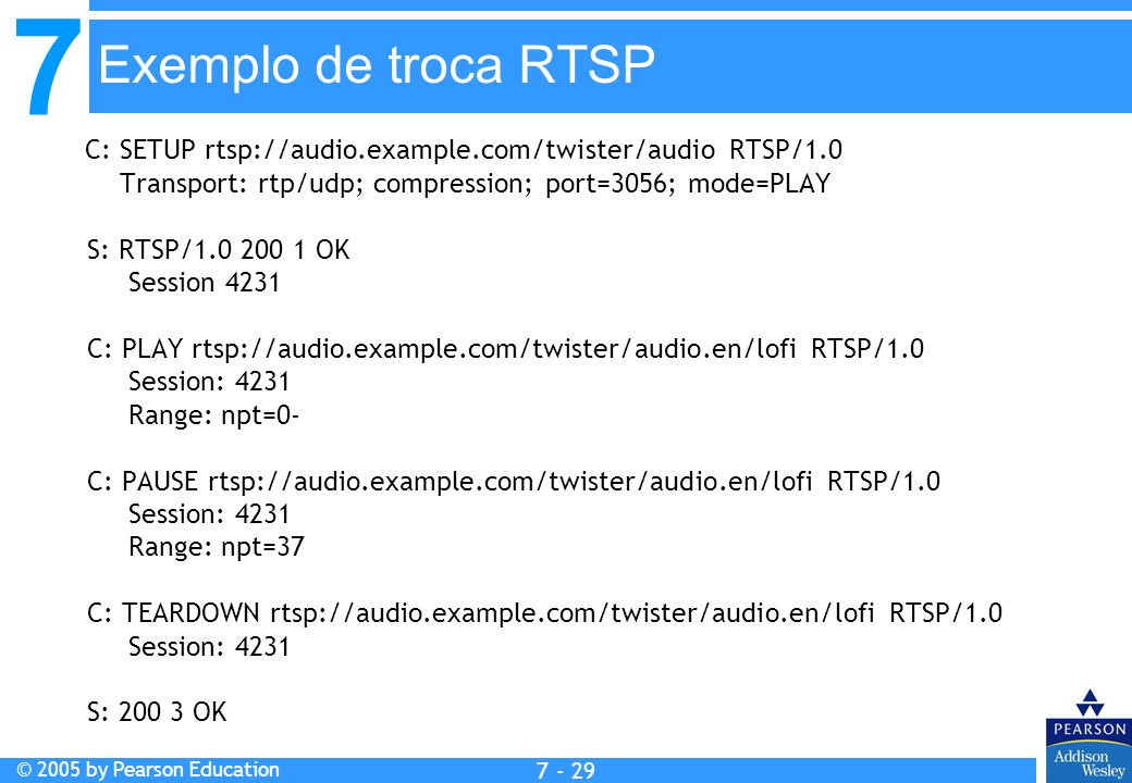 7 © 2005 by Pearson Education 7 - 29 Exemplo de troca RTSP C: SETUP rtsp://audio.example.com/twister/audio RTSP/1.0 Transport: rtp/udp; compression; port=3056; mode=PLAY S: RTSP/1.0 200 1 OK Session 4231 C: PLAY rtsp://audio.example.com/twister/audio.en/lofi RTSP/1.0 Session: 4231 Range: npt=0- C: PAUSE rtsp://audio.example.com/twister/audio.en/lofi RTSP/1.0 Session: 4231 Range: npt=37 C: TEARDOWN rtsp://audio.example.com/twister/audio.en/lofi RTSP/1.0 Session: 4231 S: 200 3 OK