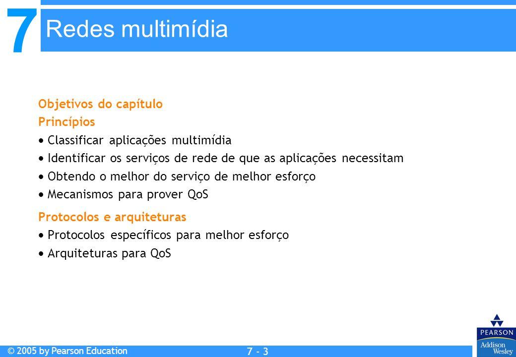 7 © 2005 by Pearson Education 7 - 3 Redes multimídia Objetivos do capítulo Princípios Classificar aplicações multimídia Identificar os serviços de red