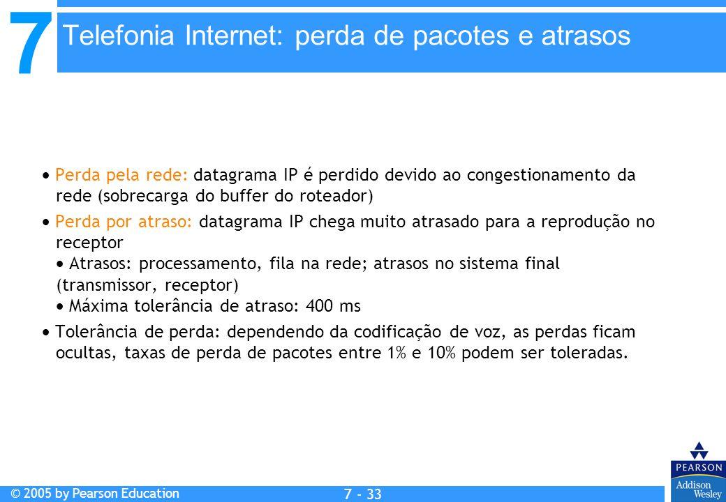 7 © 2005 by Pearson Education 7 - 33 Telefonia Internet: perda de pacotes e atrasos Perda pela rede: datagrama IP é perdido devido ao congestionamento