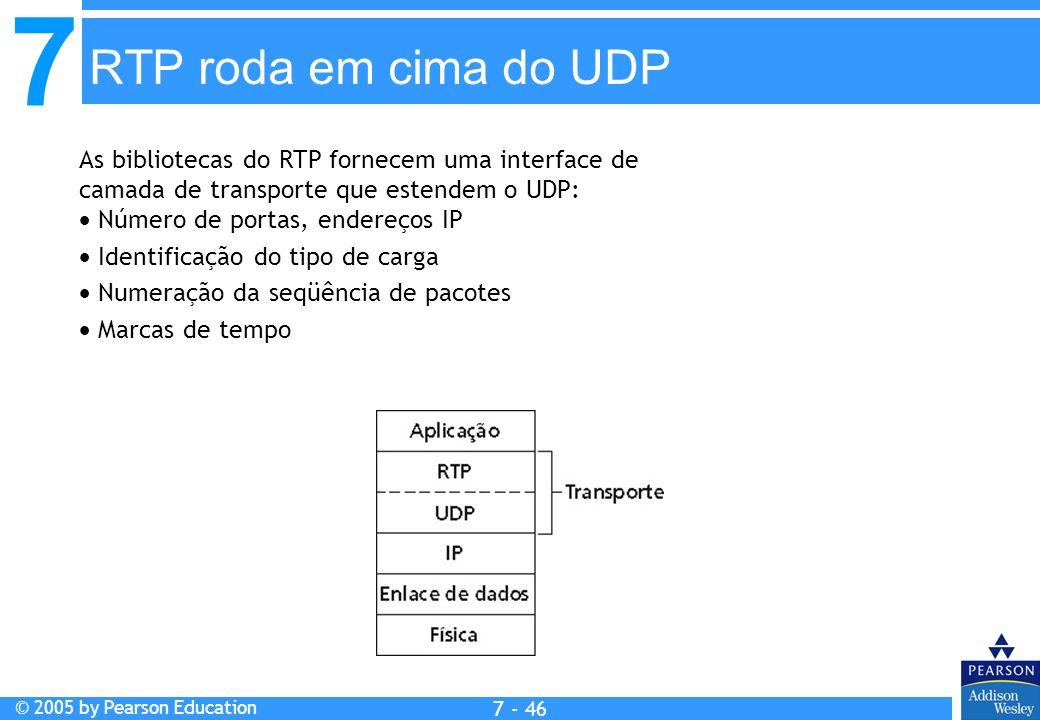 7 © 2005 by Pearson Education 7 - 46 RTP roda em cima do UDP As bibliotecas do RTP fornecem uma interface de camada de transporte que estendem o UDP: Número de portas, endereços IP Identificação do tipo de carga Numeração da seqüência de pacotes Marcas de tempo