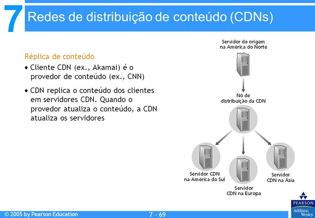 7 © 2005 by Pearson Education 7 - 69 Redes de distribuição de conteúdo (CDNs) Réplica de conteúdo Cliente CDN (ex., Akamai) é o provedor de conteúdo (ex., CNN) CDN replica o conteúdo dos clientes em servidores CDN.