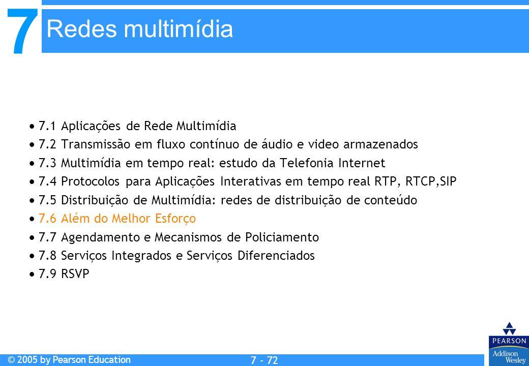 7 © 2005 by Pearson Education 7 - 72 Redes multimídia 7.1 Aplicações de Rede Multimídia 7.2 Transmissão em fluxo contínuo de áudio e video armazenados 7.3 Multimídia em tempo real: estudo da Telefonia Internet 7.4 Protocolos para Aplicações Interativas em tempo real RTP, RTCP,SIP 7.5 Distribuição de Multimídia: redes de distribuição de conteúdo 7.6 Além do Melhor Esforço 7.7 Agendamento e Mecanismos de Policiamento 7.8 Serviços Integrados e Serviços Diferenciados 7.9 RSVP