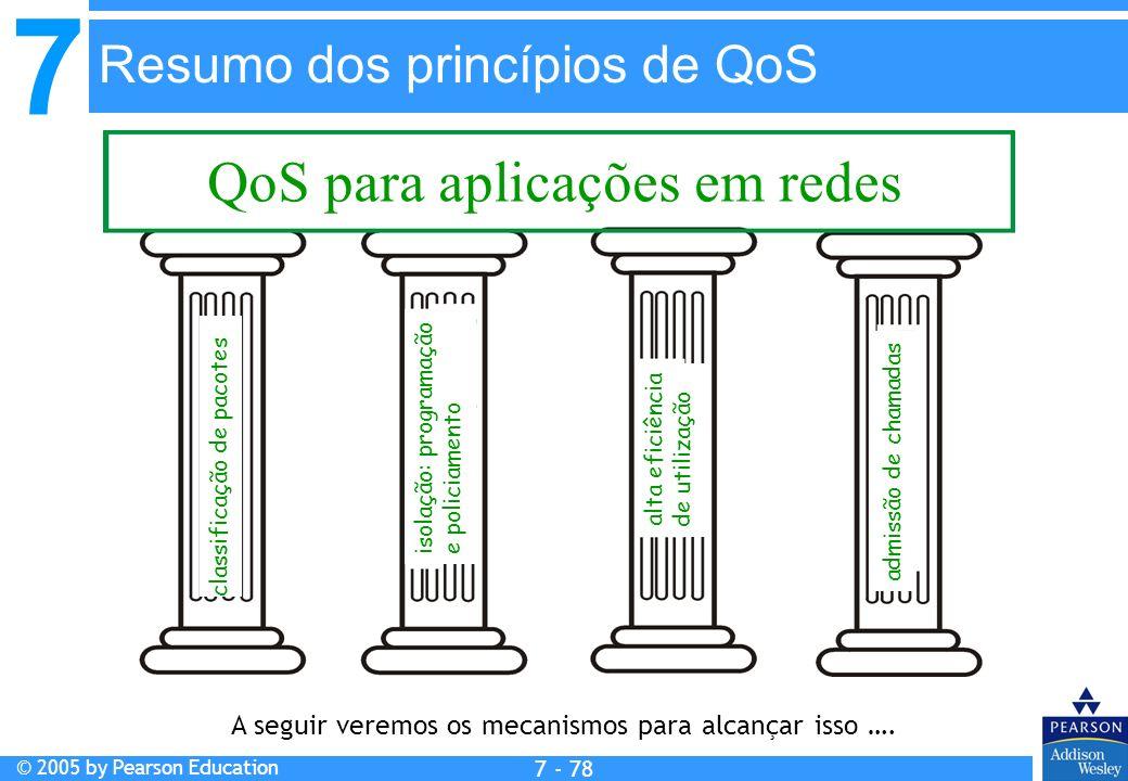 7 © 2005 by Pearson Education 7 - 78 Resumo dos princípios de QoS QoS para aplicações em redes classificação de pacotes isolação: programação e policiamento alta eficiência de utilização admissão de chamadas A seguir veremos os mecanismos para alcançar isso ….