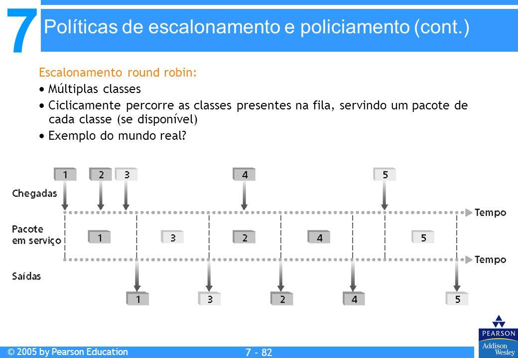 7 © 2005 by Pearson Education 7 - 82 Políticas de escalonamento e policiamento (cont.) Escalonamento round robin: Múltiplas classes Ciclicamente perco