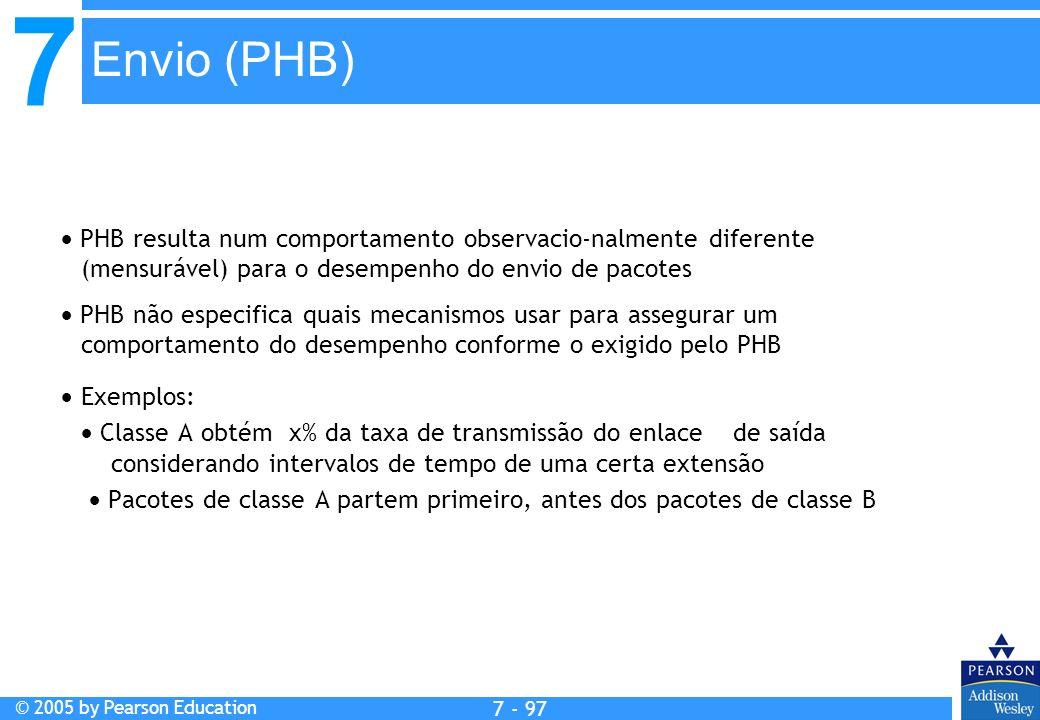 7 © 2005 by Pearson Education 7 - 97 Envio (PHB) PHB resulta num comportamento observacio-nalmente diferente (mensurável) para o desempenho do envio d